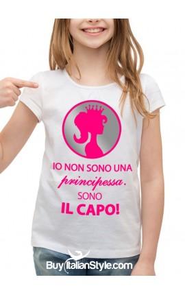 """T-shirt bimba """"Io non sono una principessa. Sono il capo"""""""