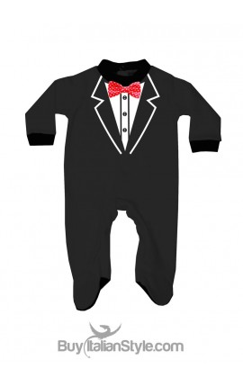 Newborn all in one with printed smoking and applied bow tie