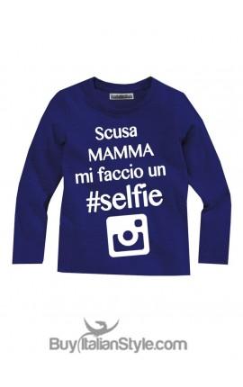 """T-shirt bimbo """"Scusa mamma mi faccio un selfie"""""""
