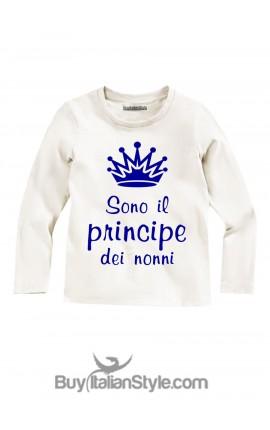 """T-shirt bimbo manica lunga """"Sono il principe dei nonni"""""""