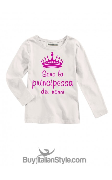 """T-shirt bimba manica lunga """"Sono la principessa dei nonni"""""""