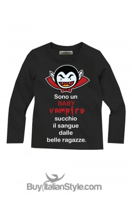 """T-shirt bimbo manica lunga """"Sono un baby vampiro"""""""