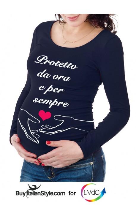 """T-shirt premaman """"Protetto da ora e per sempre"""""""