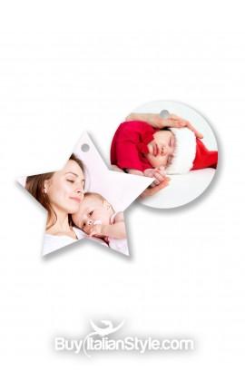 Addobbi personalizzabili con foto e testo per l'albero di Natale
