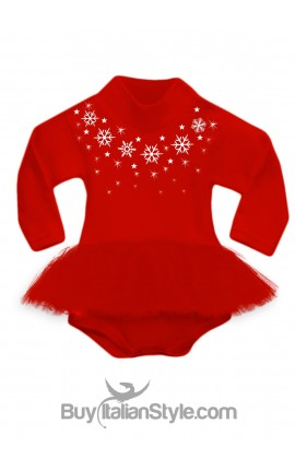 Body lupetto con gonna in tulle rossa