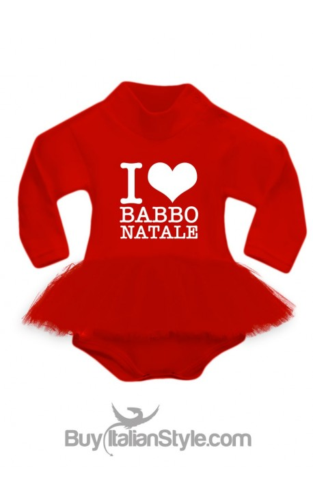 "BODY con gonna in tulle rossa ""I LOVE BABBO NATALE"""