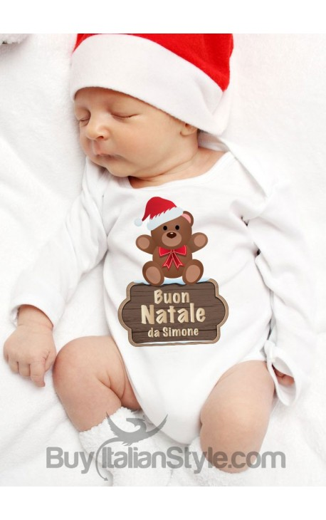 """Body neonato """"Buon Natale da..."""" personalizzabile con nome"""