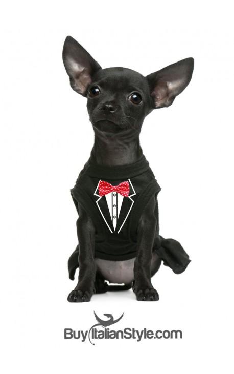 T-shirt Felpa/caldo cotone per cane Frac con papillon applicato