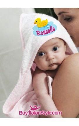 TRIANGOLO DI SPUGNA -Accappatoio per neonati personalizzabile con nome