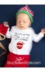 """Body lupetto """"Il Mio Primo Natale"""" con disegno Babbo Natale"""