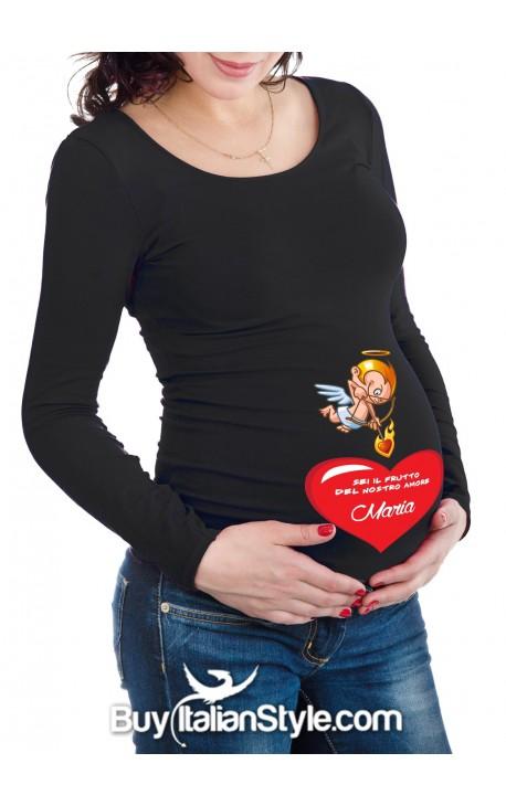 """T-shirt premaman personalizzabile """"Sei il frutto del nostro Amore"""""""