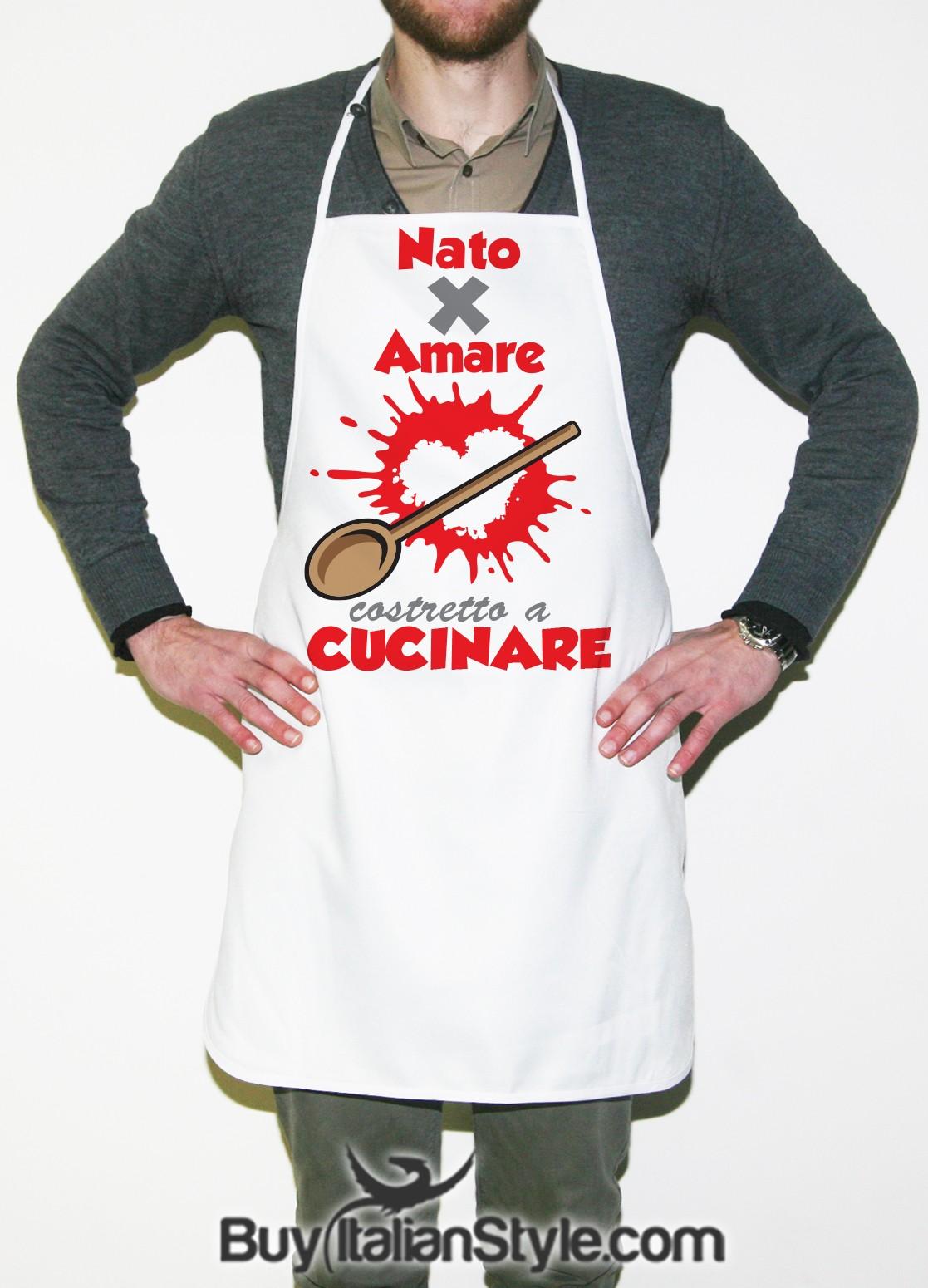 Grembiuli Simpatici Da Cucina.Grembiule Nato Per Amare Costretto A Cucinare