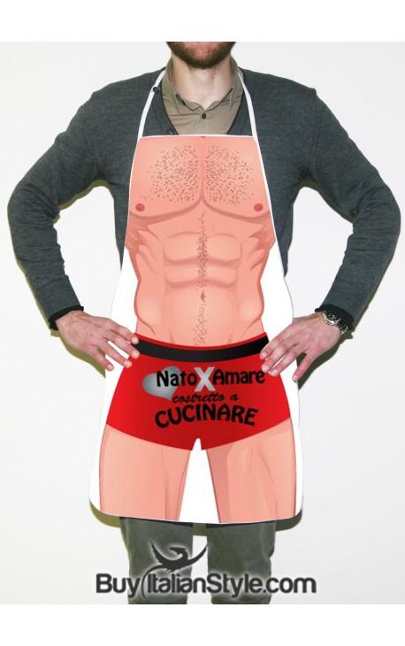 """Grembiule da cucina sexy """"Nato per amare costretto a cucinare"""""""