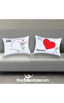"Personalized Couples pillowcases ""HEART"""