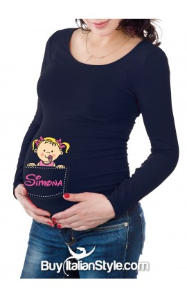 Customizable maternity T-shirt with baby coming out of the pocket