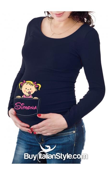 T-shirt premaman personalizzabile con bimbo che sbuca dalla tasca