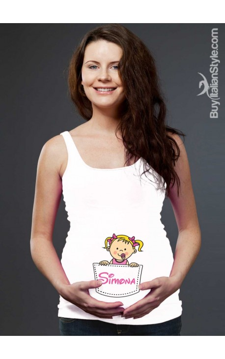 Customizable tank top with baby that comes out of the pocket