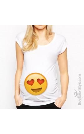 """T-shirt premaman manica corta """"emoij innamorato"""""""