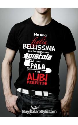 "T-shirt uomo mezza manica ""Bambina, alibi , pistola"""