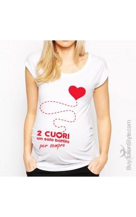 """T-shirt premaman manica corta """"Due cuori un solo battito"""""""