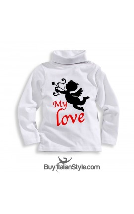 "Knit turtleneck t-shirt""MY LOVE"""