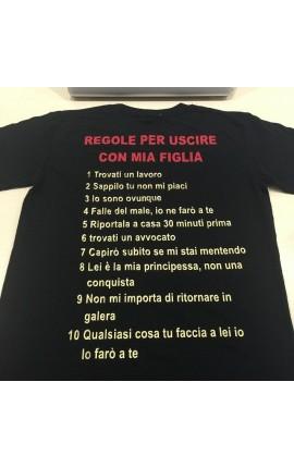 """T-shirt uomo mezza manica """"Regole per uscire con mia figlia"""""""