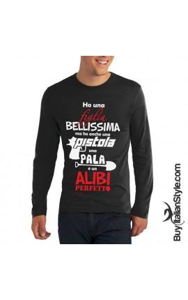 "T-shirt uomo ""Alibi perfetto"" manica lunga"