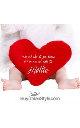 Cuscino a forma di cuore Personalizzabile con Testo
