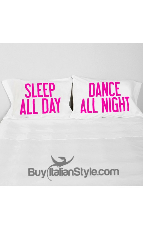 "Couples pillowcases ""Sleep all day..."""