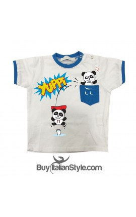 T-shirt with printed panda pocket