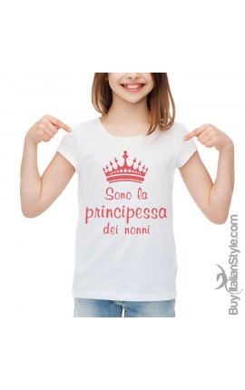 """T-shirt bimba mezza manica """"Sono la principessa dei nonni"""""""