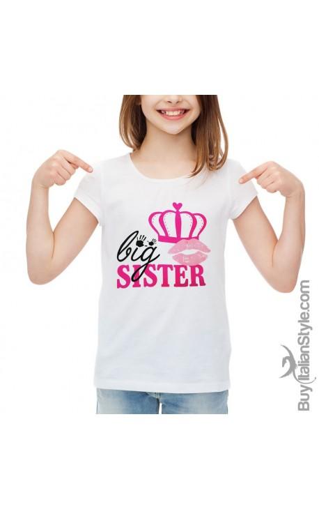 "T-shirt bimba con scritta ""Big-Sister"""