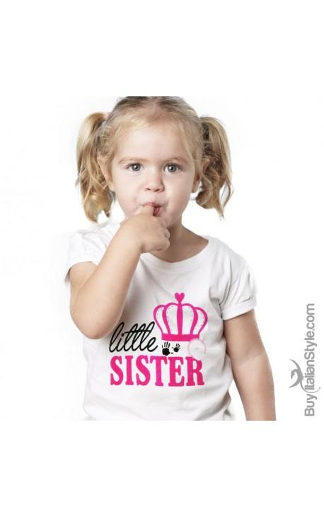 "T-shirt bimba con scritta ""Little-Sister"""