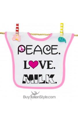 """Bavaglino """"Peace Love Milk"""""""