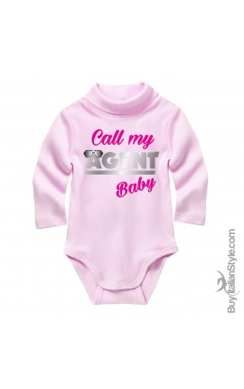 "Knit turtleneck bodysuit ""call my agent baby"""