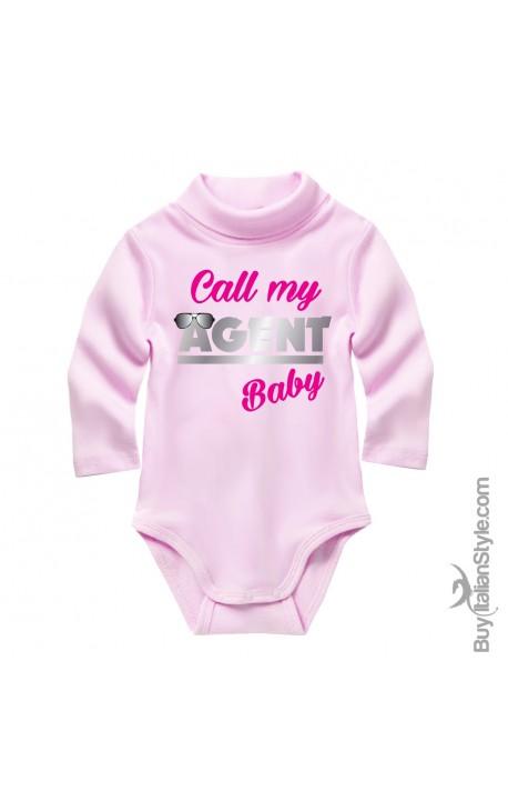 "Knit turtleneck bodysuit ""call my agent baby"""