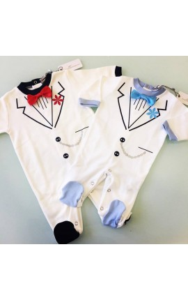Tutina neonato elegante con papilon applicato