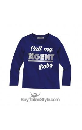 """T-shirt bimbo MANICA LUNGA """"Call my agent baby"""""""