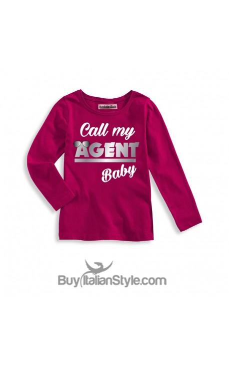 """T-shirt bimba MANICA LUNGA """"Call my agent baby"""""""