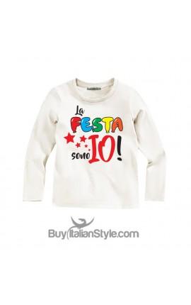 "T-shirt bimbo MANICA LUNGA ""La festa sono io"""