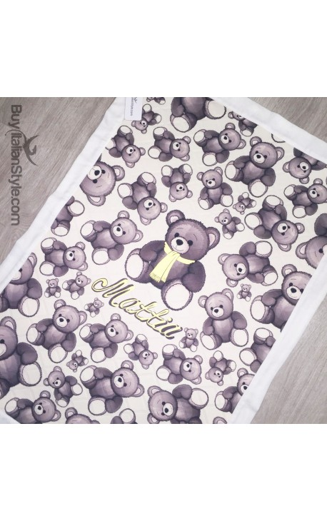 Customizable winter blanket with teddy bears