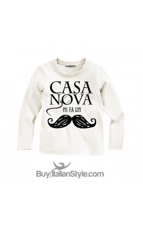 "T-shirt bimbo MANICA LUNGA ""Casanova mi fa un baffo"""