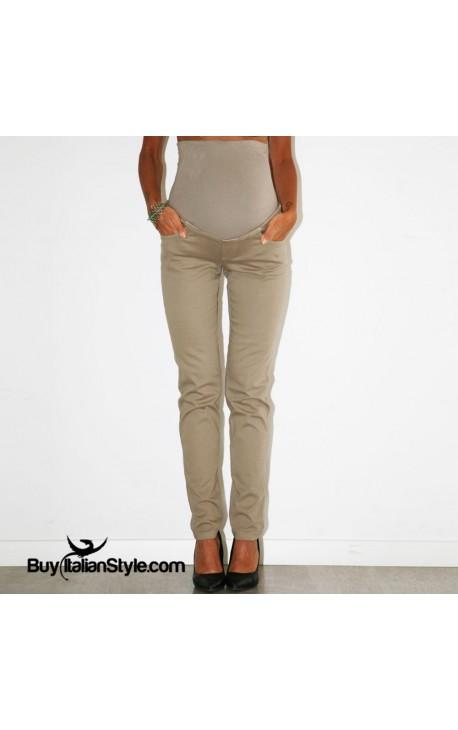 f7531944568f Pantaloni premaman color con fascia ALTA elasticizzata