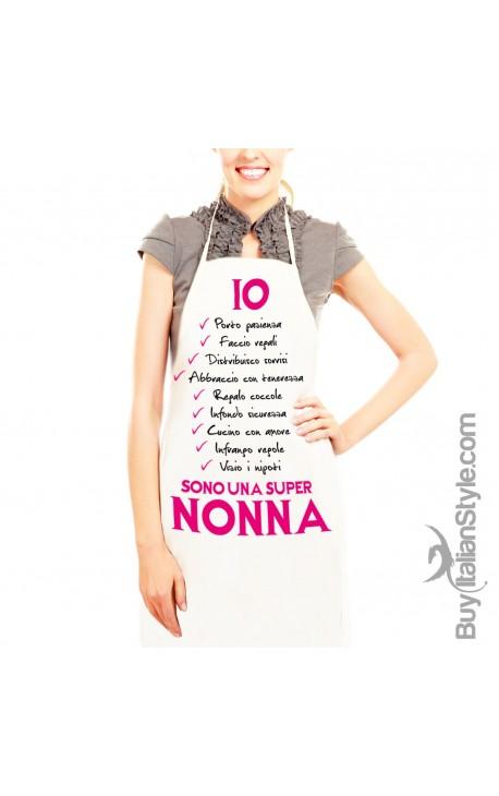 """Grembiule da cucina """"Lista della super nonna"""""""