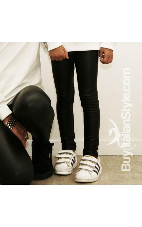 marchio popolare scarpe a buon mercato immagini dettagliate Leggings ecopelle neonata e bambina