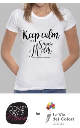 """T-shirt Donna """"T-shirt keep calm i'm super mum"""""""