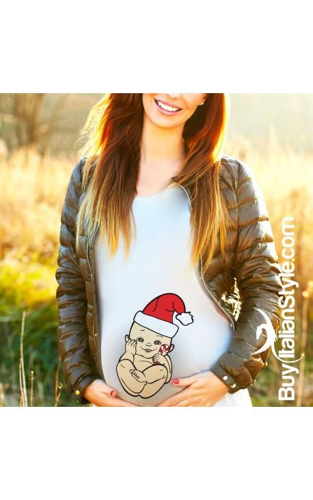 Maglia Premaman Natalizia con disegno bambino