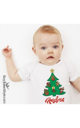 Christmas tree body suit with name