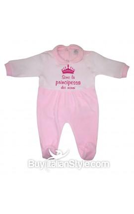"""Tutina neonato in ciniglia """"principessa dei nonni"""""""