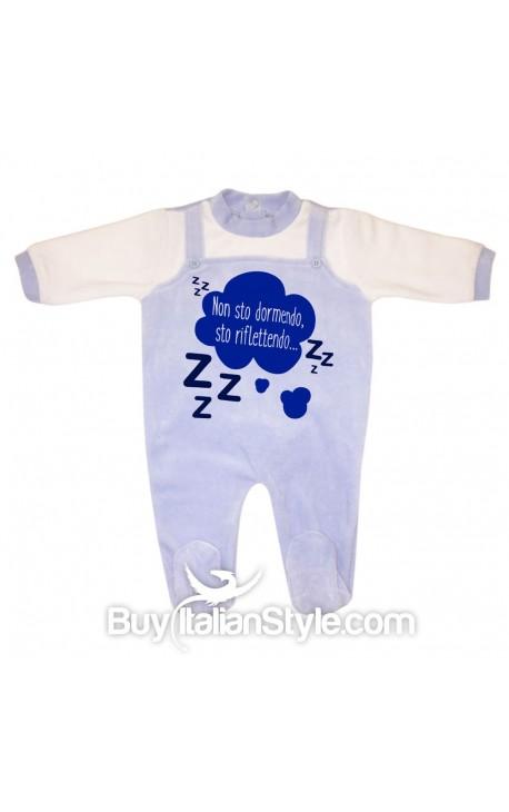 """Tutina neonato in ciniglia """"Non sto dormendo sto riflettendo"""""""